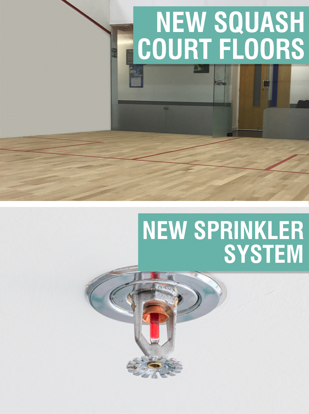 New Squash Court Floors & New Sprinkler System